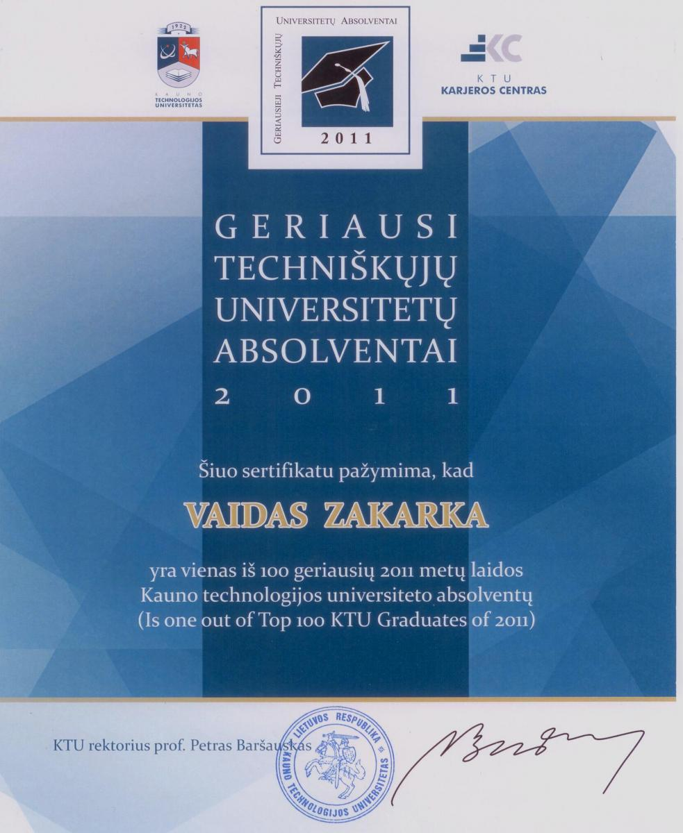 One out of Top100 Kaunas University of Technology Graduates