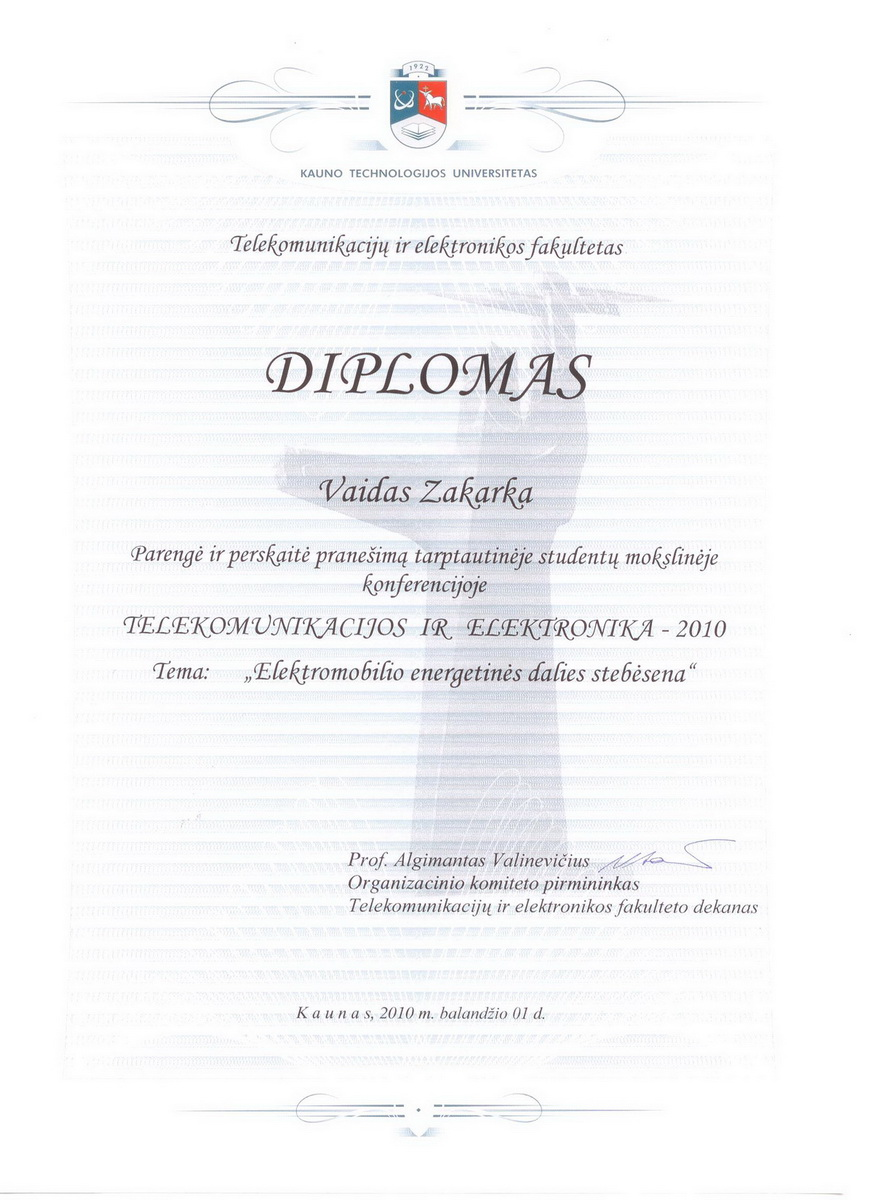 """Telecommunications and electronics 2010"" conference diploma"