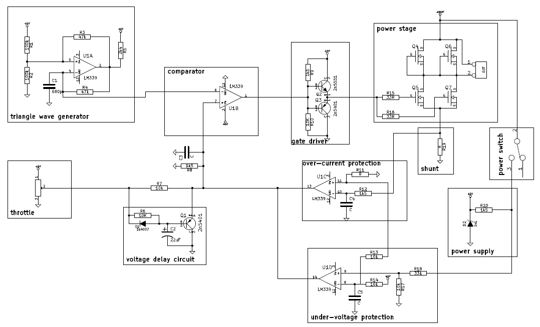 Circuit schematic of DC motor controller